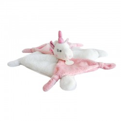 Doudou licorne rose